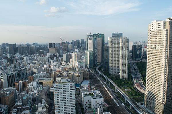 浜松町の貿易センタービルの展望台から都内を撮影